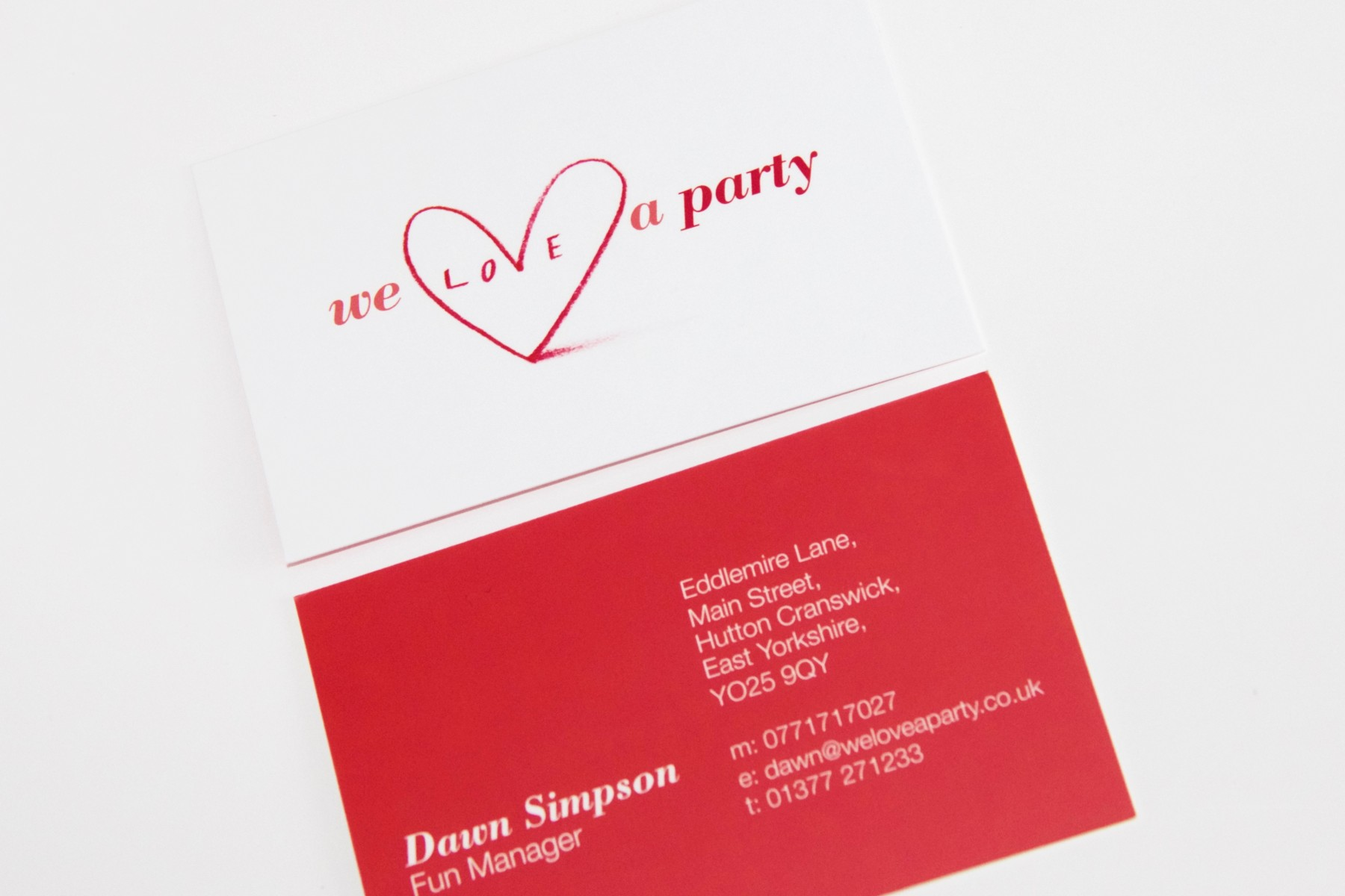 Our work all design print ltd we love a party matt laminated business cards reheart Gallery